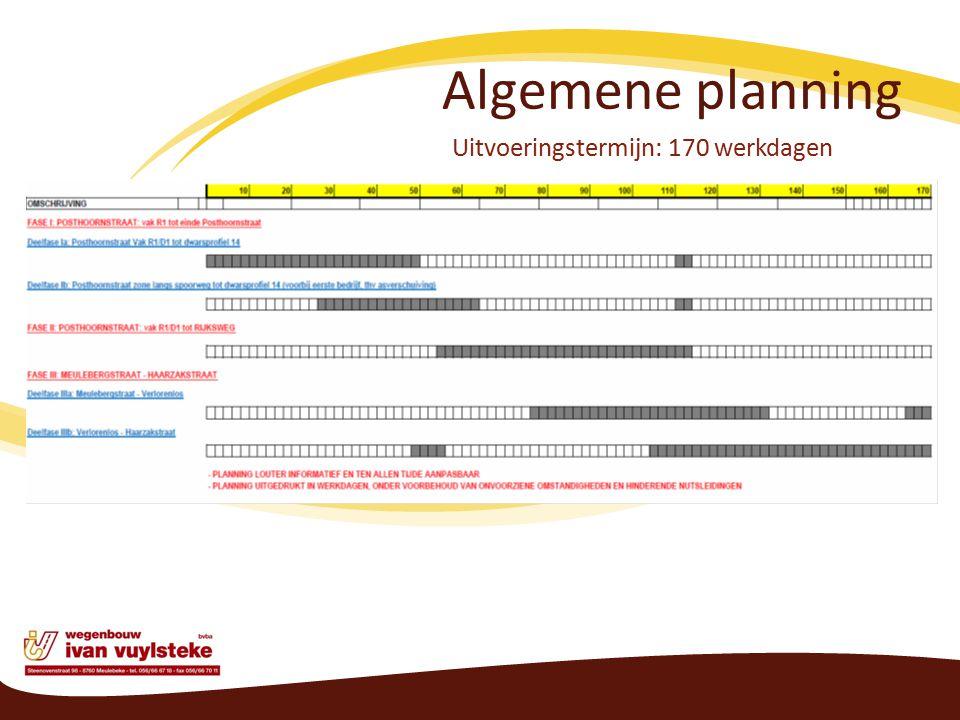 Algemene planning Uitvoeringstermijn: 170 werkdagen