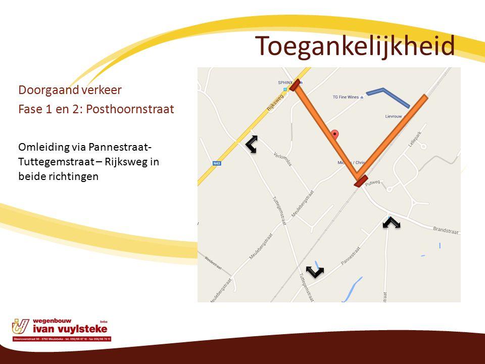 Toegankelijkheid Doorgaand verkeer Fase 1 en 2: Posthoornstraat Omleiding via Pannestraat- Tuttegemstraat – Rijksweg in beide richtingen
