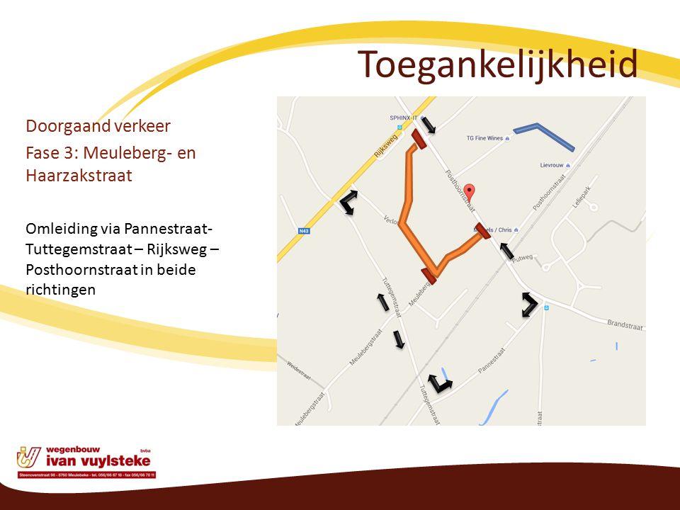Toegankelijkheid Doorgaand verkeer Fase 3: Meuleberg- en Haarzakstraat Omleiding via Pannestraat- Tuttegemstraat – Rijksweg – Posthoornstraat in beide richtingen