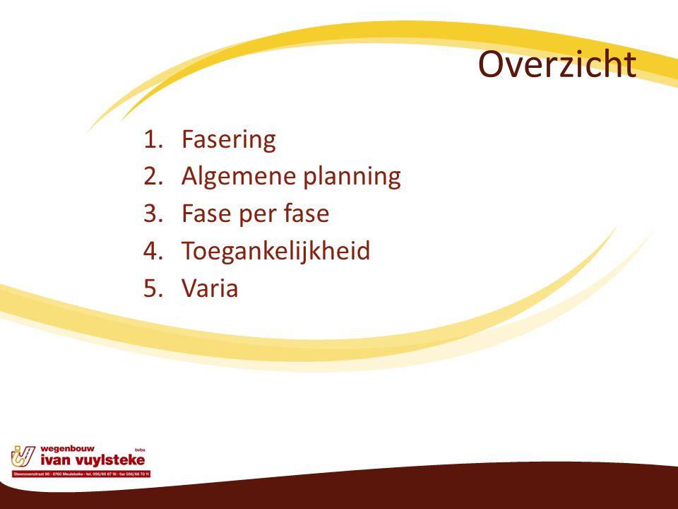 Overzicht 1.Fasering 2.Algemene planning 3.Fase per fase 4.Toegankelijkheid 5.Varia