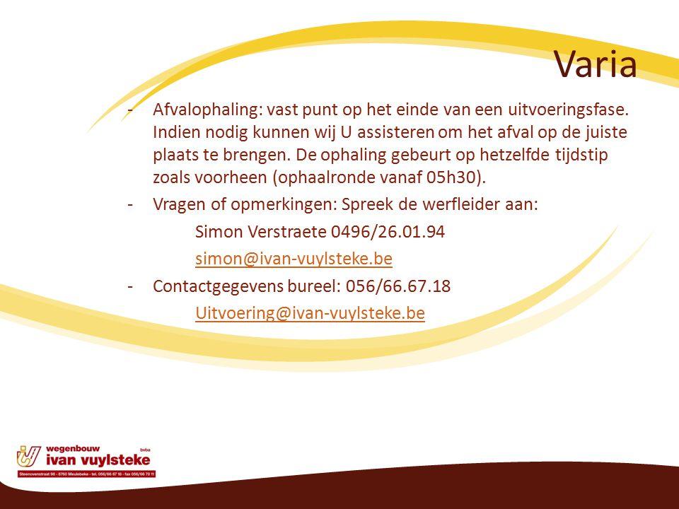 Varia -Afvalophaling: vast punt op het einde van een uitvoeringsfase.