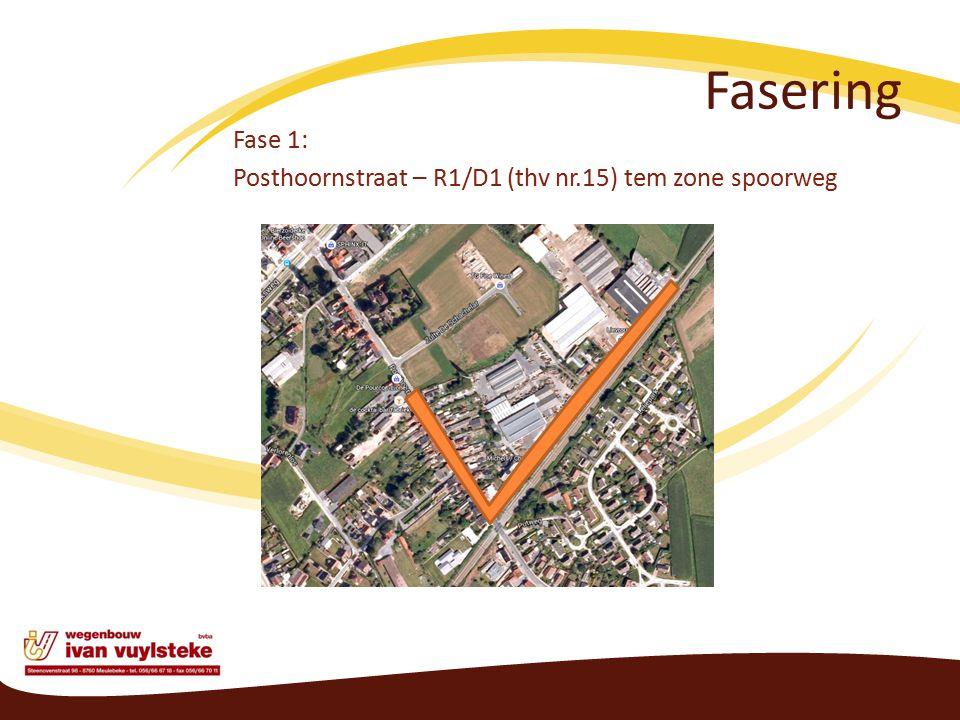 Fasering Fase 1: Posthoornstraat – R1/D1 (thv nr.15) tem zone spoorweg