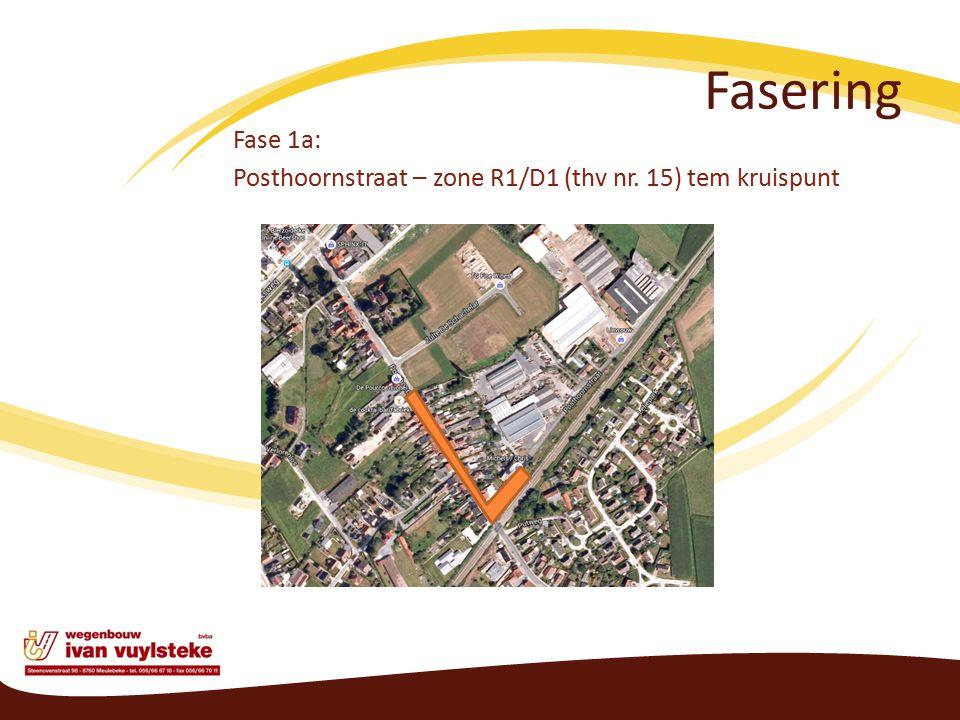 Fasering Fase 1a: Posthoornstraat – zone R1/D1 (thv nr. 15) tem kruispunt