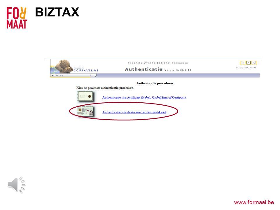 www.formaat.be BIZTAX WWW.BIZTAX.BE