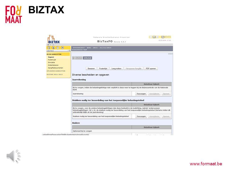 www.formaat.be BIZTAX Nul-aangifte  Enkel gegevens van de vereniging & contactgegevens invullen Geen nul-aangifte.