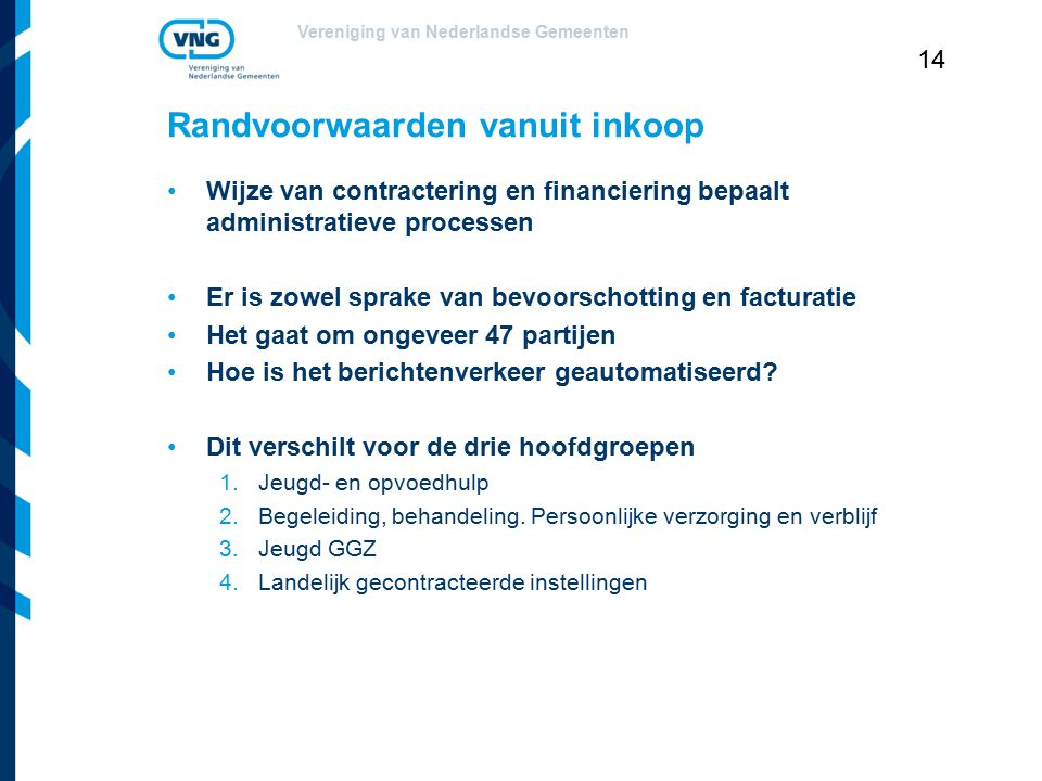 Vereniging van Nederlandse Gemeenten 14 Randvoorwaarden vanuit inkoop Wijze van contractering en financiering bepaalt administratieve processen Er is