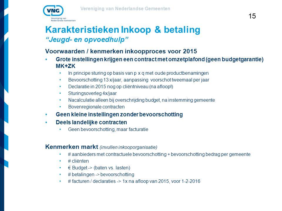 """Vereniging van Nederlandse Gemeenten 15 Karakteristieken Inkoop & betaling """"Jeugd- en opvoedhulp"""" Voorwaarden / kenmerken inkoopproces voor 2015 Grote"""