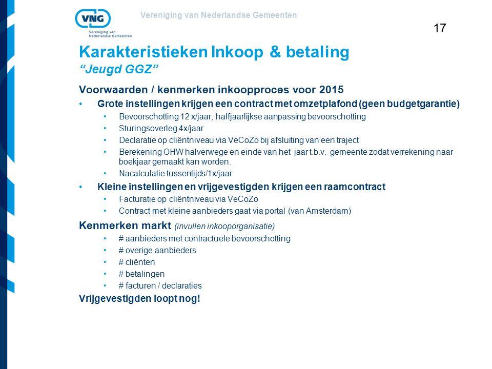 """Vereniging van Nederlandse Gemeenten 17 Karakteristieken Inkoop & betaling """"Jeugd GGZ"""" Voorwaarden / kenmerken inkoopproces voor 2015 Grote instelling"""