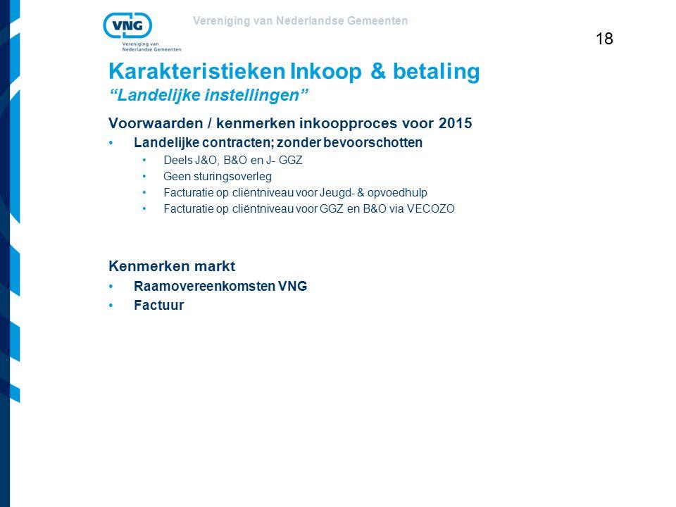 """Vereniging van Nederlandse Gemeenten 18 Karakteristieken Inkoop & betaling """"Landelijke instellingen"""" Voorwaarden / kenmerken inkoopproces voor 2015 La"""