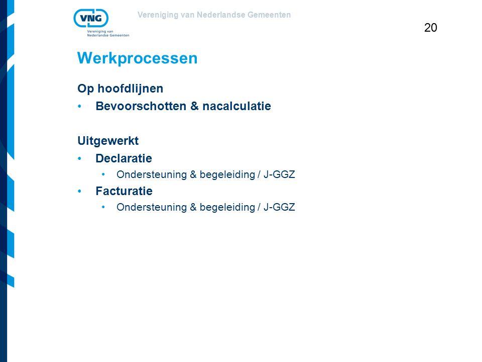 Vereniging van Nederlandse Gemeenten 20 Werkprocessen Op hoofdlijnen Bevoorschotten & nacalculatie Uitgewerkt Declaratie Ondersteuning & begeleiding /