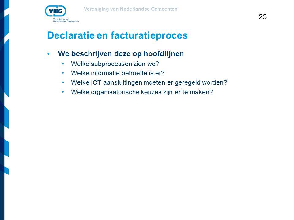 Vereniging van Nederlandse Gemeenten 25 Declaratie en facturatieproces We beschrijven deze op hoofdlijnen Welke subprocessen zien we? Welke informatie
