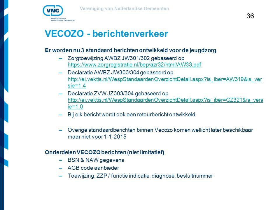 Vereniging van Nederlandse Gemeenten 36 VECOZO - berichtenverkeer Er worden nu 3 standaard berichten ontwikkeld voor de jeugdzorg –Zorgtoewijzing AWBZ