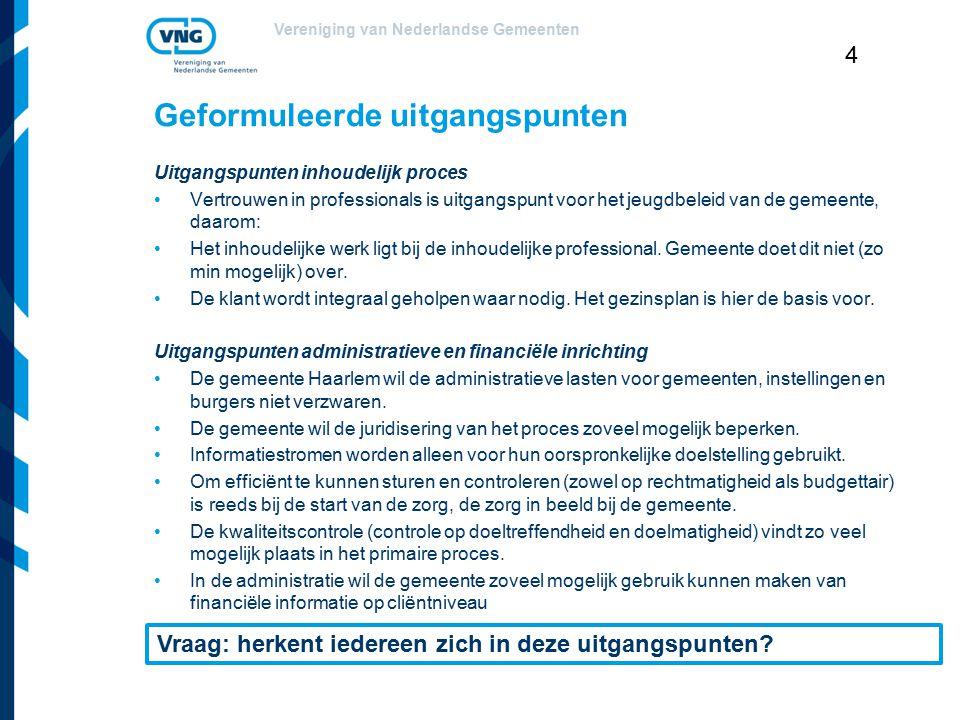 Vereniging van Nederlandse Gemeenten 4 Geformuleerde uitgangspunten Uitgangspunten inhoudelijk proces Vertrouwen in professionals is uitgangspunt voor