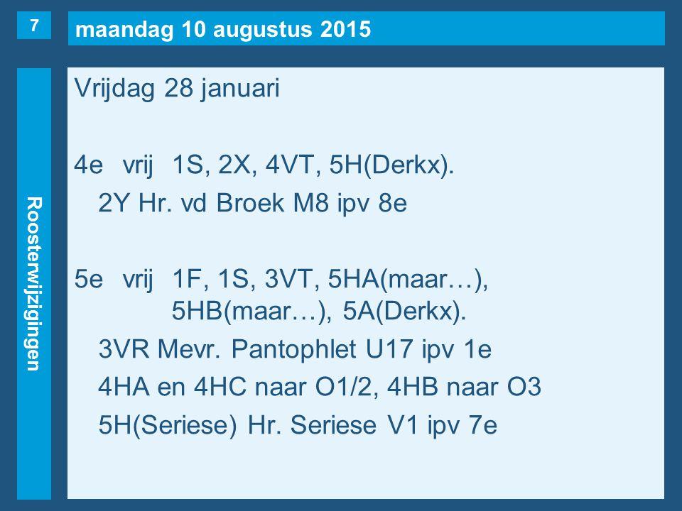 maandag 10 augustus 2015 Roosterwijzigingen Vrijdag 28 januari 6evrij1B, 1S, 3VR, 3VT, 3AA, 4VN, 4VP, 4VR, 5AA, 6A(Derkx).