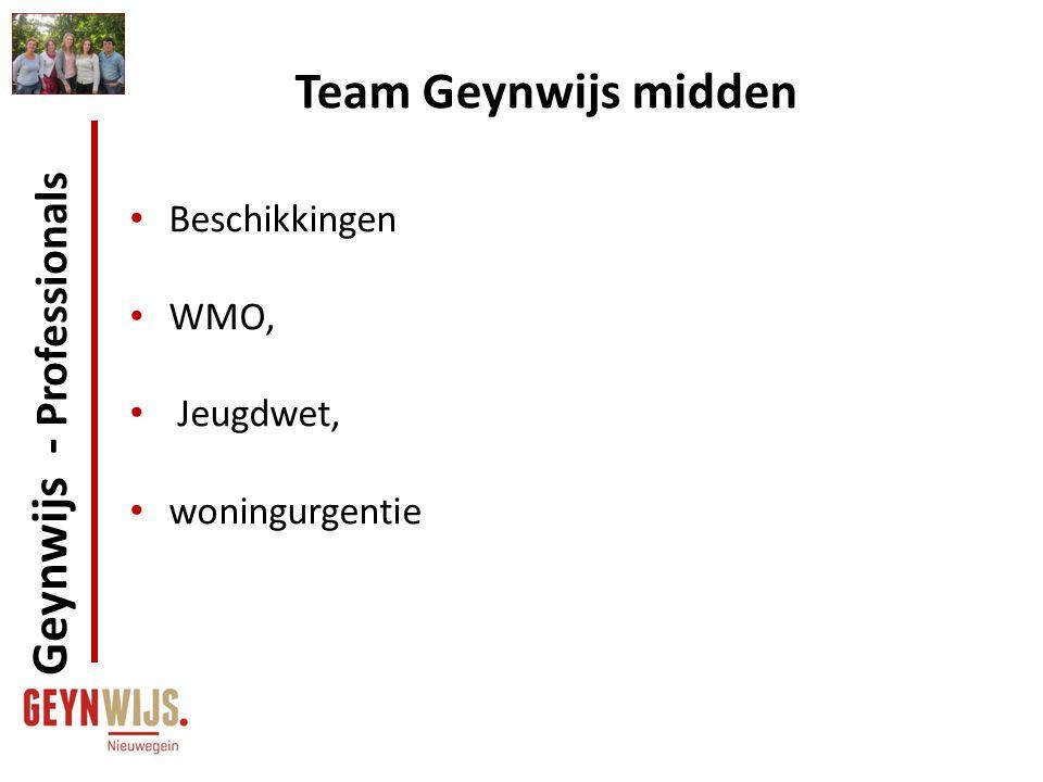 Team Geynwijs midden Beschikkingen WMO, Jeugdwet, woningurgentie Geynwijs - Professionals