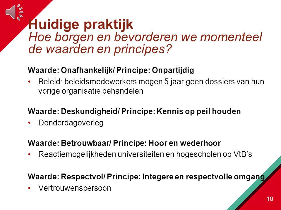 Huidige praktijk Hoe borgen en bevorderen we momenteel de waarden en principes.