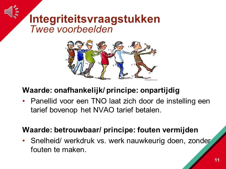 Integriteitsvraagstukken Twee voorbeelden Waarde: onafhankelijk/ principe: onpartijdig Panellid voor een TNO laat zich door de instelling een tarief bovenop het NVAO tarief betalen.