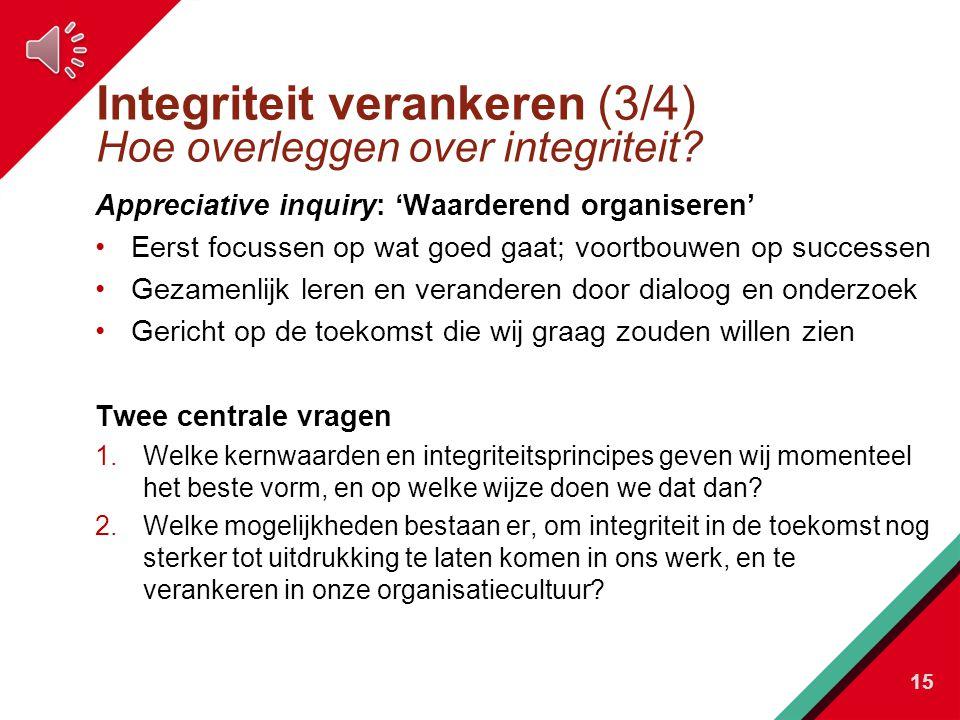 Integriteit verankeren (3/4) Hoe overleggen over integriteit.