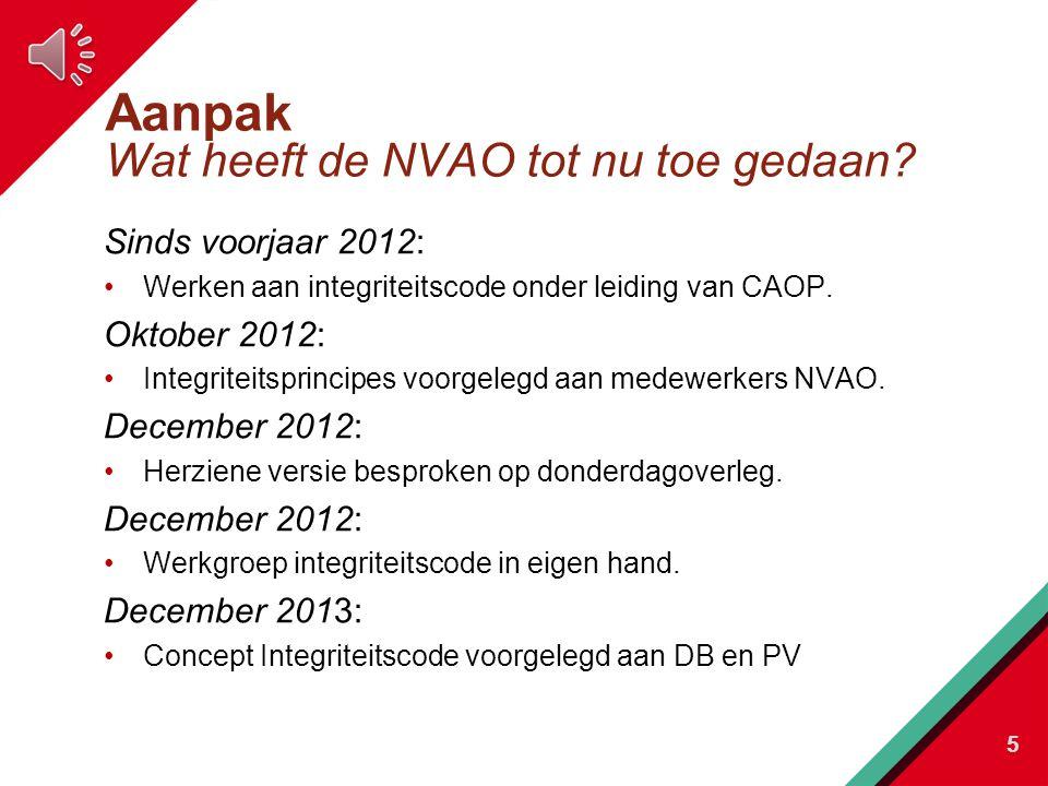 Aanpak Wat heeft de NVAO tot nu toe gedaan.