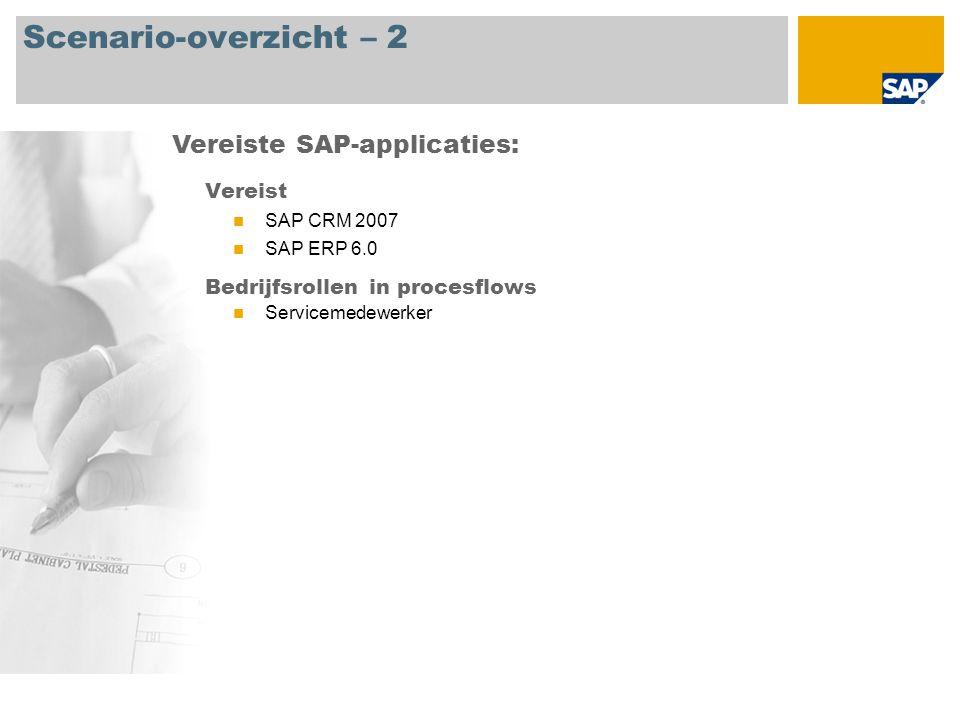 Scenario-overzicht – 2 Vereist SAP CRM 2007 SAP ERP 6.0 Bedrijfsrollen in procesflows Servicemedewerker Vereiste SAP-applicaties: