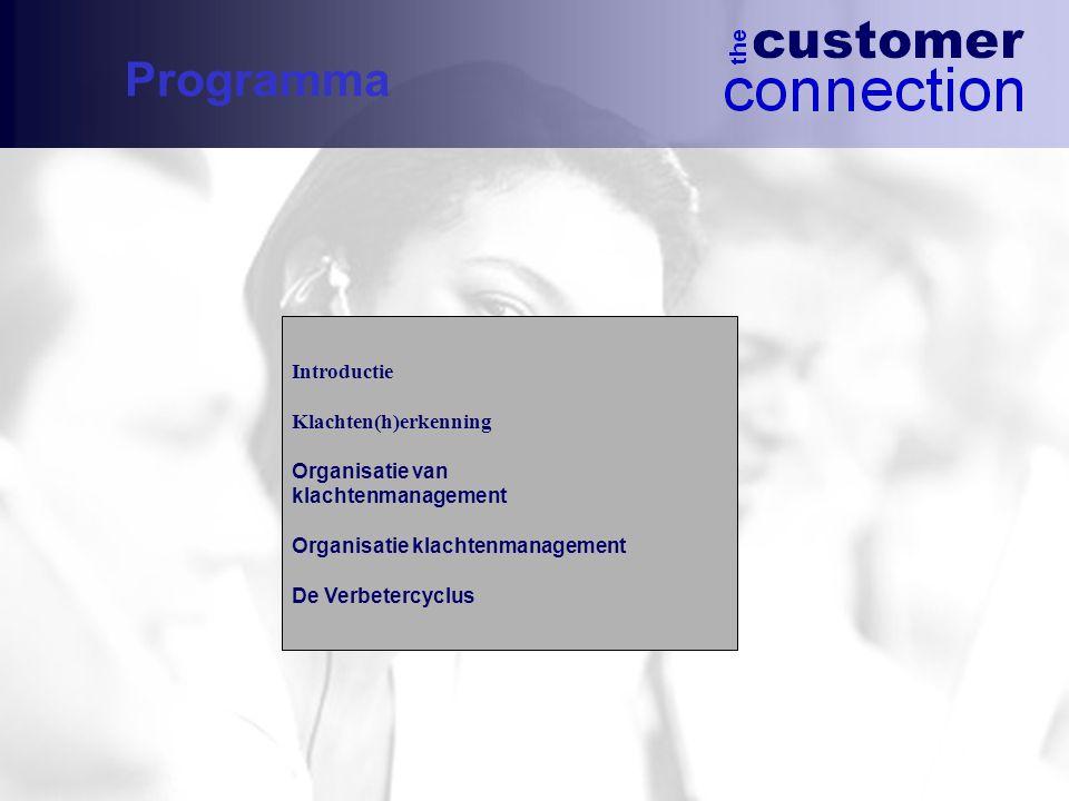 Programma Introductie Klachten(h)erkenning Organisatie van klachtenmanagement Organisatie klachtenmanagement De Verbetercyclus