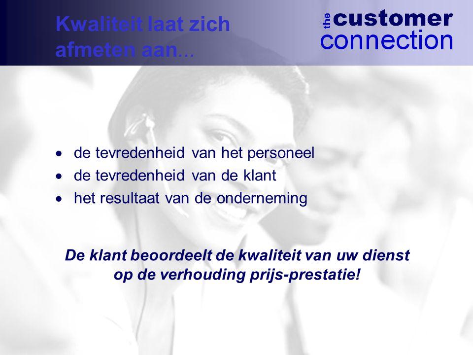  de tevredenheid van het personeel  de tevredenheid van de klant  het resultaat van de onderneming De klant beoordeelt de kwaliteit van uw dienst op de verhouding prijs-prestatie.