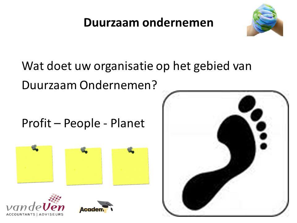 Duurzaam ondernemen Wat doet uw organisatie op het gebied van Duurzaam Ondernemen.