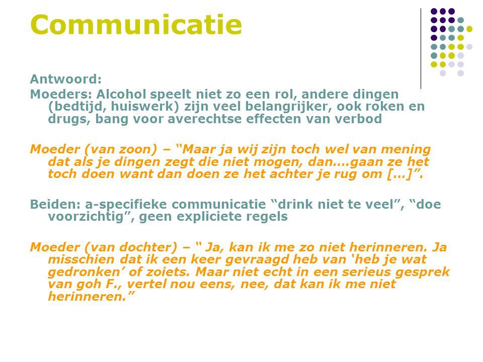 Communicatie Antwoord: Moeders: Alcohol speelt niet zo een rol, andere dingen (bedtijd, huiswerk) zijn veel belangrijker, ook roken en drugs, bang voo
