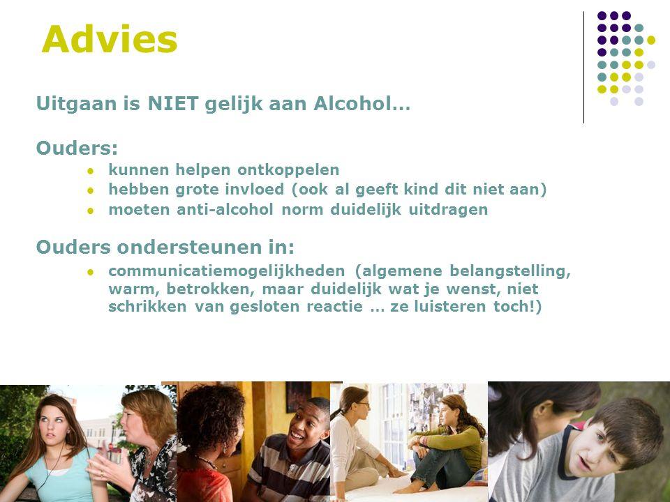 Advies Uitgaan is NIET gelijk aan Alcohol… Ouders: kunnen helpen ontkoppelen hebben grote invloed (ook al geeft kind dit niet aan) moeten anti-alcohol