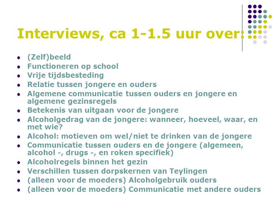 Interviews, ca 1-1.5 uur over: (Zelf)beeld Functioneren op school Vrije tijdsbesteding Relatie tussen jongere en ouders Algemene communicatie tussen o