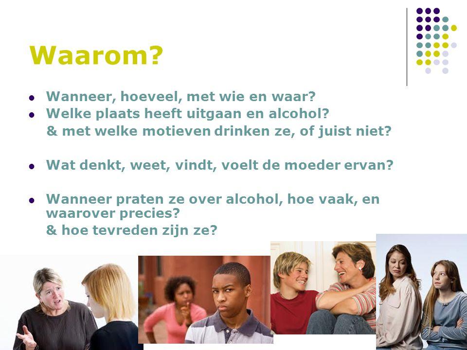 Waarom? Wanneer, hoeveel, met wie en waar? Welke plaats heeft uitgaan en alcohol? & met welke motieven drinken ze, of juist niet? Wat denkt, weet, vin