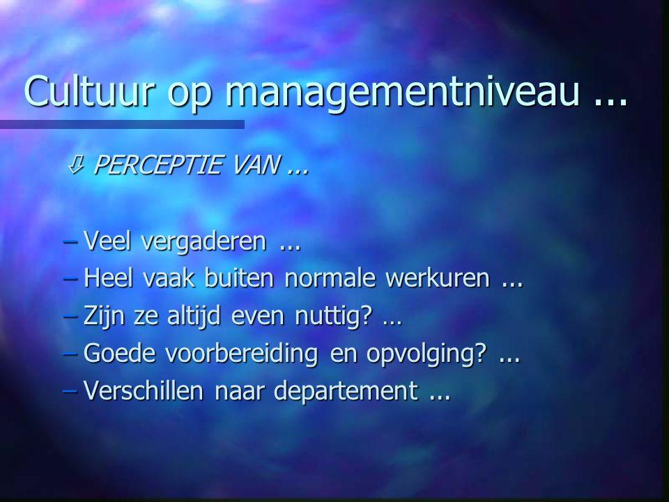 Cultuur op managementniveau... PERCEPTIE VAN... –Veel vergaderen...