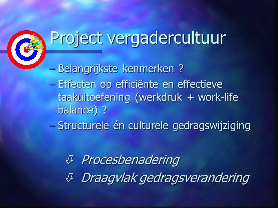 Project vergadercultuur Project vergadercultuur –Belangrijkste kenmerken .