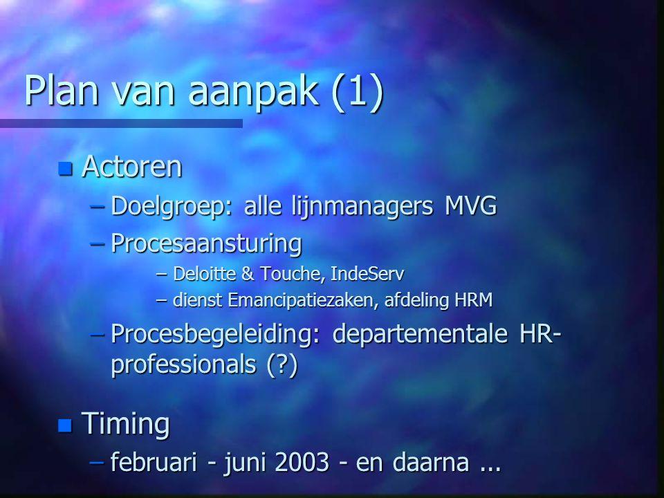 Plan van aanpak (1) n Actoren –Doelgroep: alle lijnmanagers MVG –Procesaansturing –Deloitte & Touche, IndeServ –dienst Emancipatiezaken, afdeling HRM –Procesbegeleiding: departementale HR- professionals ( ) n Timing –februari - juni 2003 - en daarna...