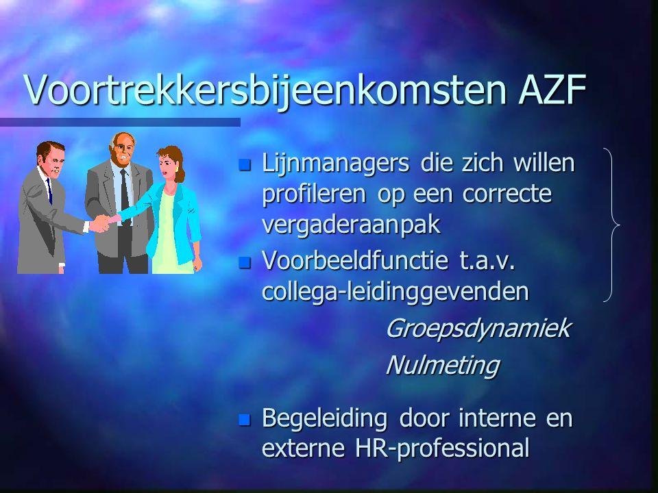 Voortrekkersbijeenkomsten AZF n Lijnmanagers die zich willen profileren op een correcte vergaderaanpak n Voorbeeldfunctie t.a.v.
