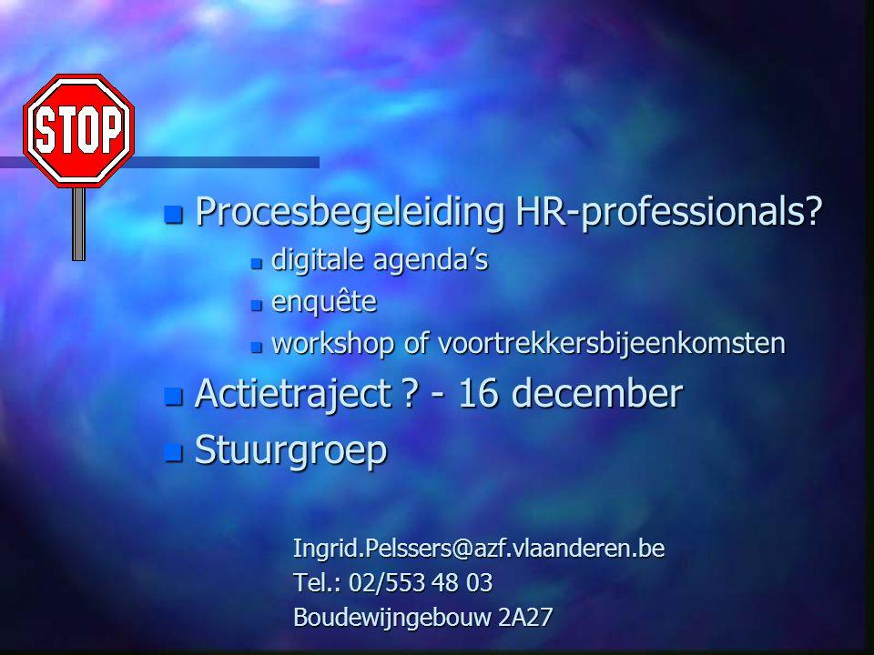 n Procesbegeleiding HR-professionals.