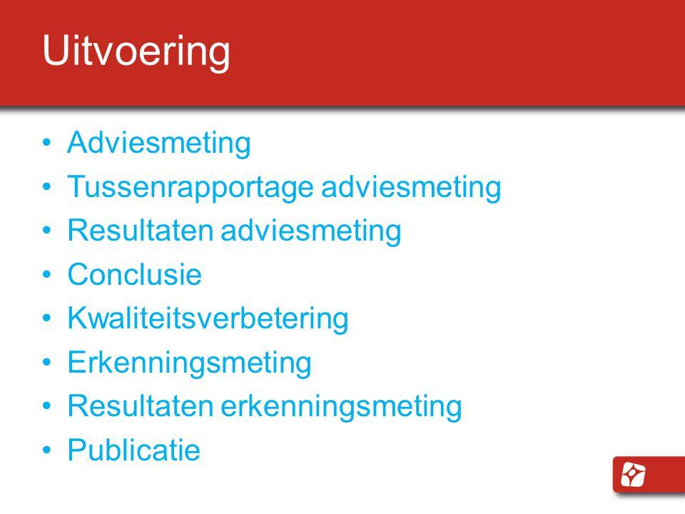 Uitvoering Adviesmeting Tussenrapportage adviesmeting Resultaten adviesmeting Conclusie Kwaliteitsverbetering Erkenningsmeting Resultaten erkenningsmeting Publicatie