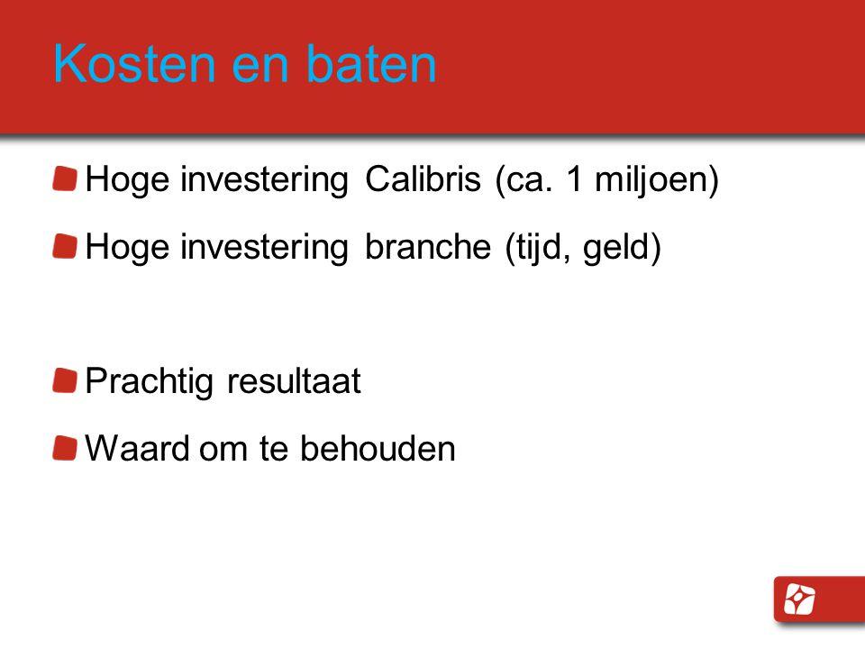 Kosten en baten Hoge investering Calibris (ca.