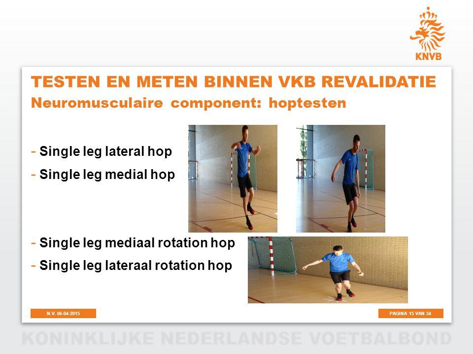 PAGINA 15 VAN 34N.V. 06-04-2015 TESTEN EN METEN BINNEN VKB REVALIDATIE - Single leg lateral hop - Single leg medial hop - Single leg mediaal rotation
