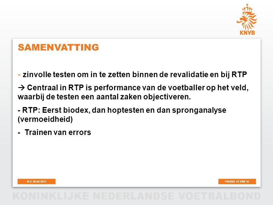 PAGINA 32 VAN 34N.V. 06-04-2015 SAMENVATTING - zinvolle testen om in te zetten binnen de revalidatie en bij RTP  Centraal in RTP is performance van d