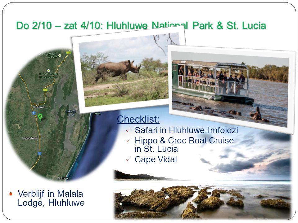 Do 2/10 – zat 4/10: Hluhluwe National Park & St.