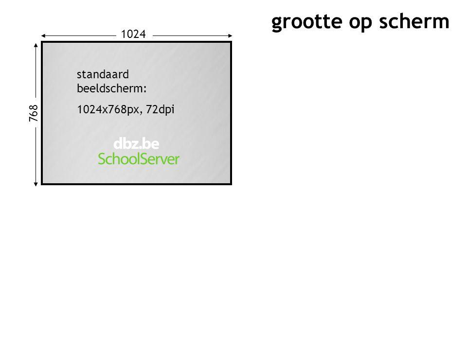 768 1024 standaard beeldscherm: 1024x768px, 72dpi grootte op scherm