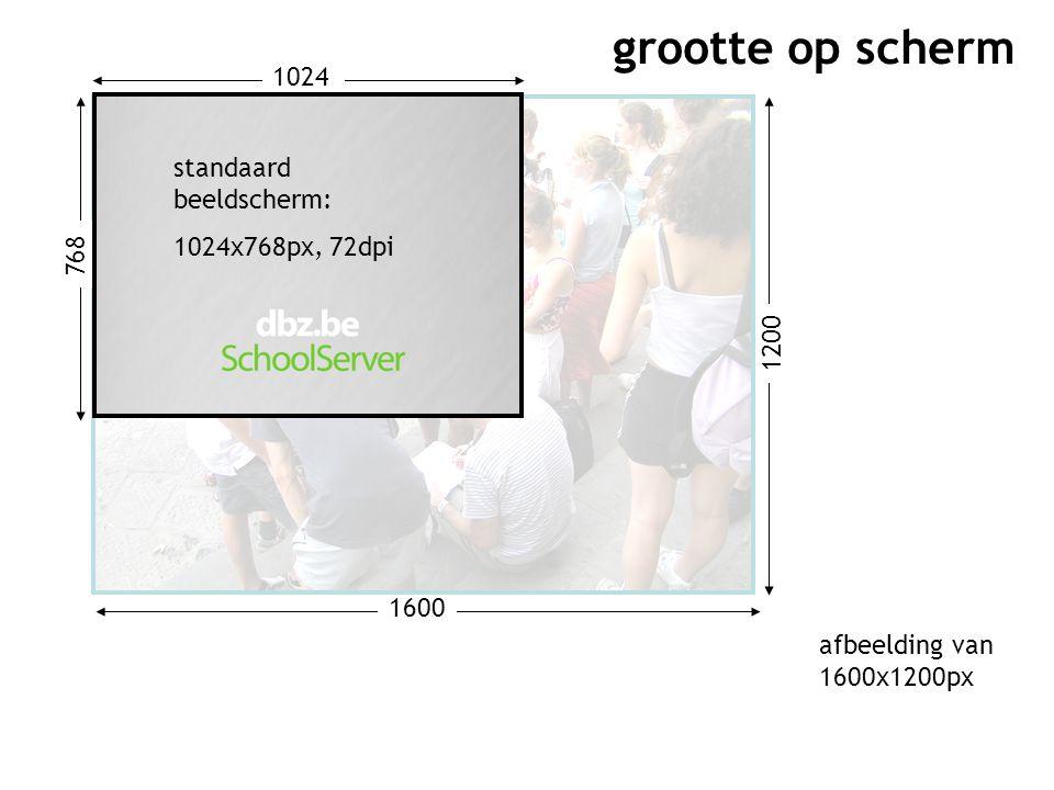 1200 1600 768 1024 standaard beeldscherm: 1024x768px, 72dpi grootte op scherm afbeelding van 1600x1200px