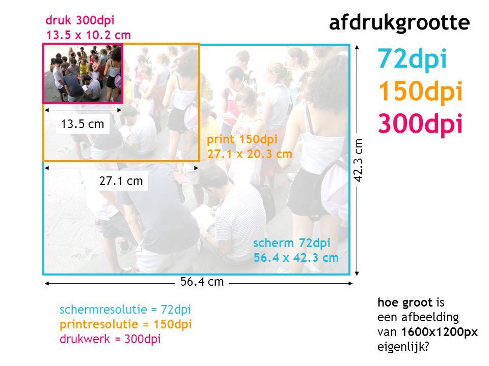 56.4 cm 42.3 cm afdrukgrootte 72dpi 150dpi 300dpi 27.1 cm 13.5 cm scherm 72dpi 56.4 x 42.3 cm print 150dpi 27.1 x 20.3 cm druk 300dpi 13.5 x 10.2 cm h