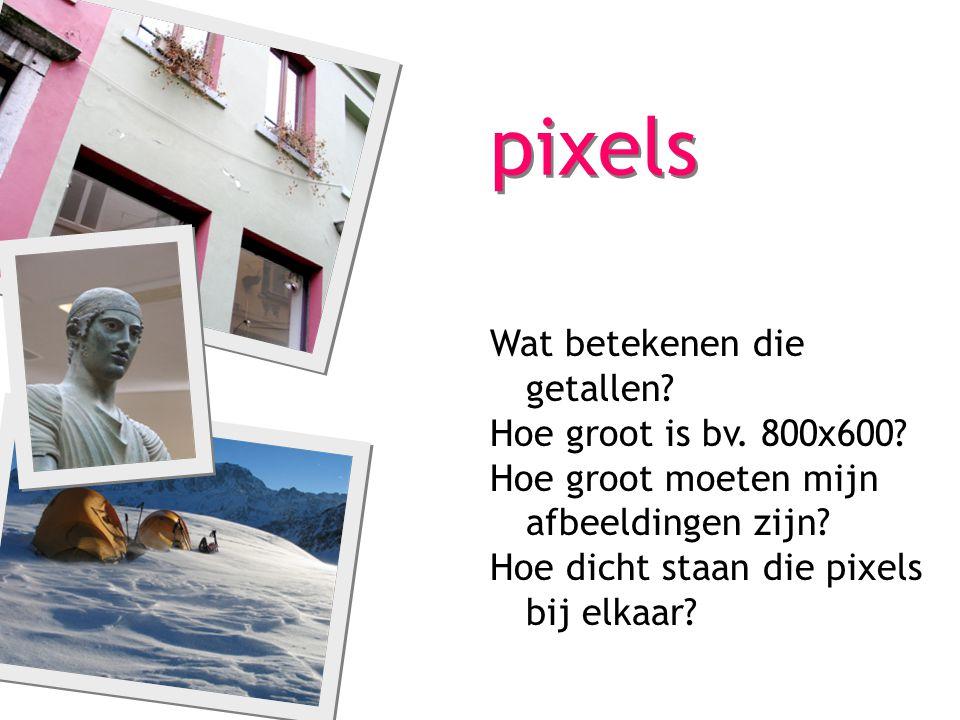 768 1024 standaard beeldscherm: 1024x768px, 72dpi Werkwijze: 1.in een beeldbewerkingsprogramma verkleinen we de afbeelding tot het formaat dat we nodig hebben 2.we doen dat door het aantal pixels te verminderen 3.minder pixels = kleinere bestandsgrootte 4.ZEER BELANGRIJK voor gebruik op internet: bestanden mogen daar helemaal niet groot zijn 5.DUS: i.p.v.