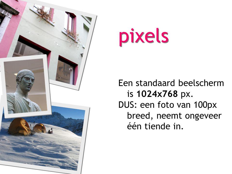 pixels Een standaard beelscherm is 1024x768 px. DUS: een foto van 100px breed, neemt ongeveer één tiende in.