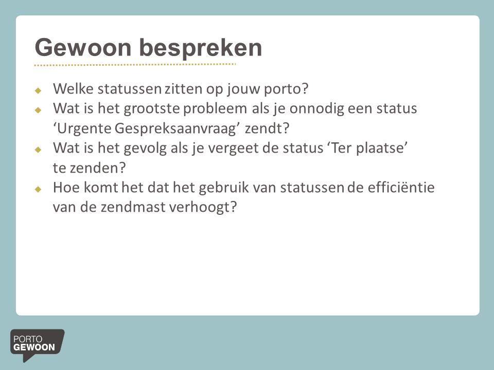 Gewoon bespreken  Welke statussen zitten op jouw porto?  Wat is het grootste probleem als je onnodig een status 'Urgente Gespreksaanvraag' zendt? 