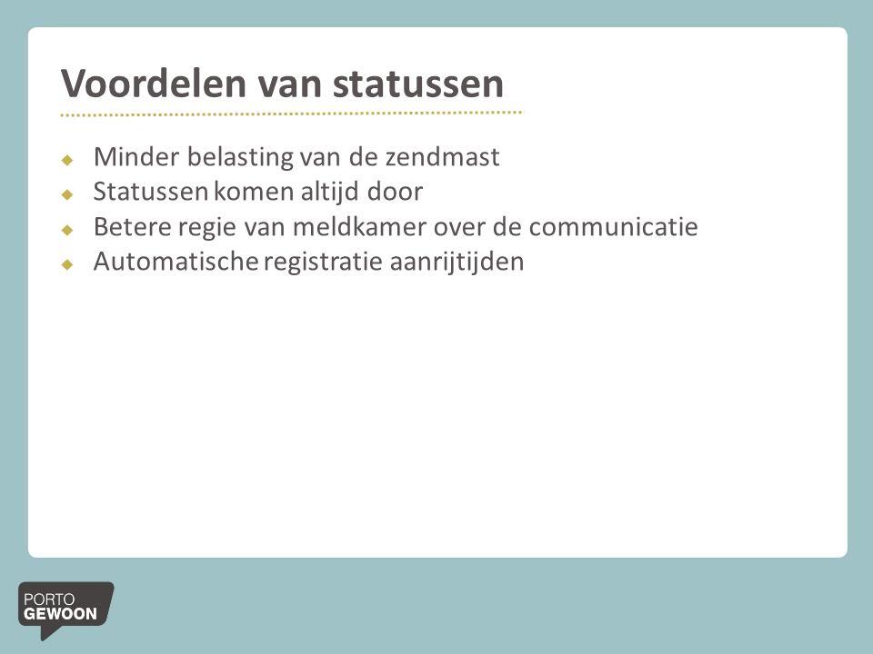 Voordelen van statussen  Minder belasting van de zendmast  Statussen komen altijd door  Betere regie van meldkamer over de communicatie  Automatis