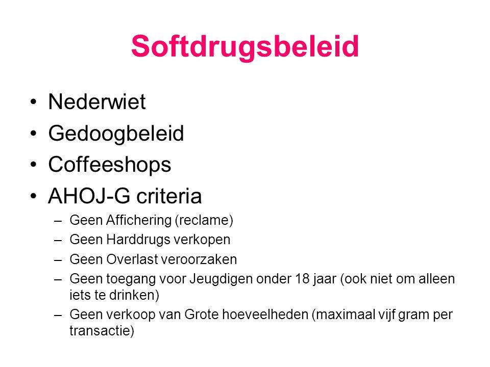 Softdrugsbeleid Nederwiet Gedoogbeleid Coffeeshops AHOJ-G criteria –Geen Affichering (reclame) –Geen Harddrugs verkopen –Geen Overlast veroorzaken –Ge