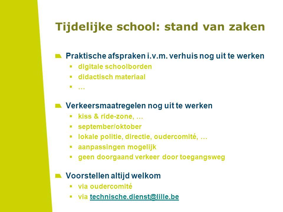 Tijdelijke school: stand van zaken Praktische afspraken i.v.m. verhuis nog uit te werken  digitale schoolborden  didactisch materiaal  … Verkeersma